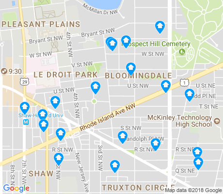 map of LeDroit Park - Bloomingdale apartments for rent