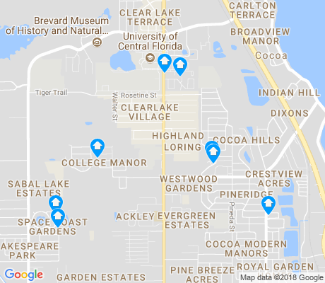 map of Cocoa apartments for rent