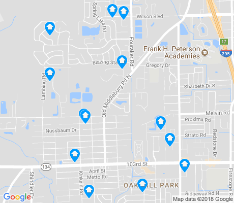 map of Jacksonville Heights apartments for rent