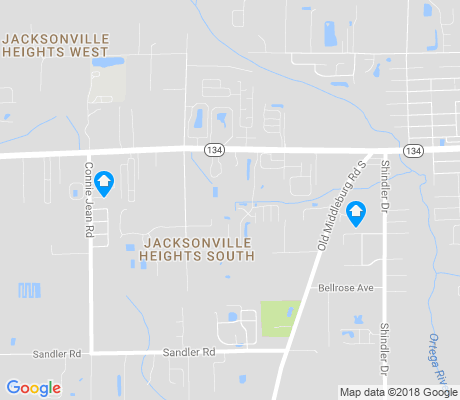 map of Jacksonville Heights South apartments for rent