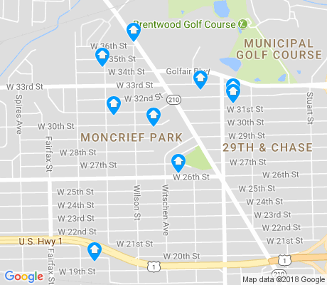 map of Moncrief Park apartments for rent