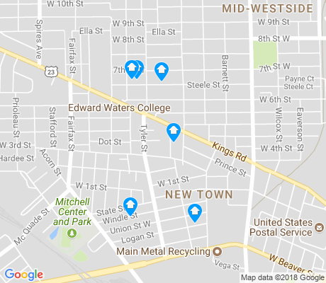 map of New Town apartments for rent