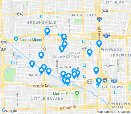 map of Allapattah apartments for rent
