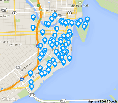 map of Brickell apartments for rent