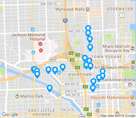 map of Overtown apartments for rent