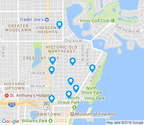 map of Historic Old Northeast apartments for rent