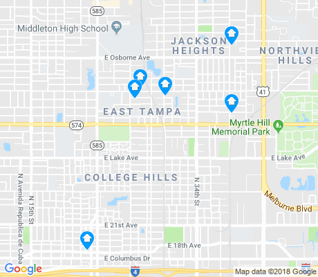 map of East Tampa apartments for rent