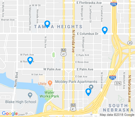 map of Tampa Heights apartments for rent