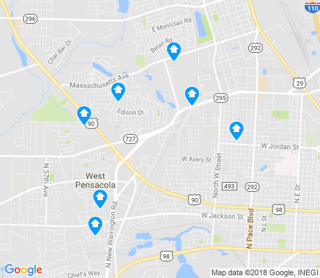 map of West Pensacola apartments for rent