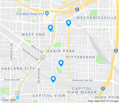 map of Adair Park apartments for rent