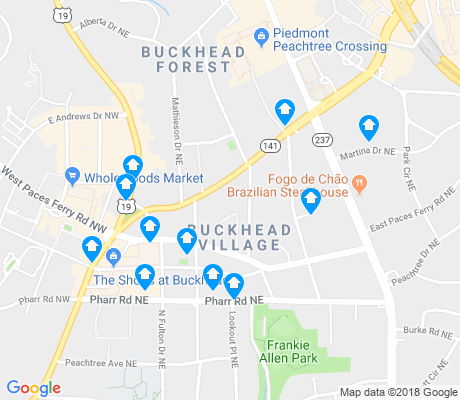 map of Buckhead Village apartments for rent