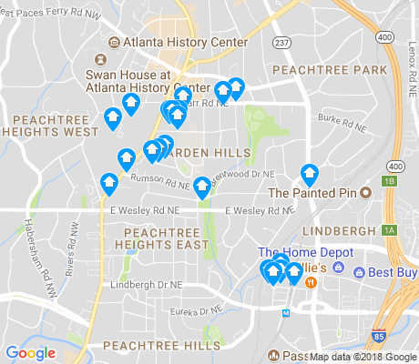 map of Garden Hills apartments for rent