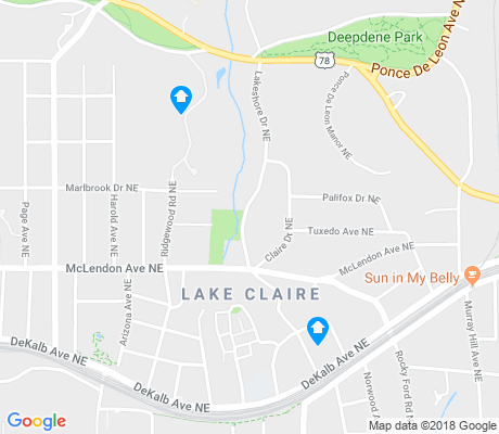 map of Lake Claire apartments for rent