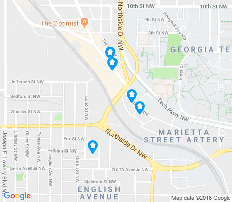 map of Marietta Street Artery apartments for rent