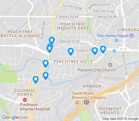 map of Peachtree Hills apartments for rent