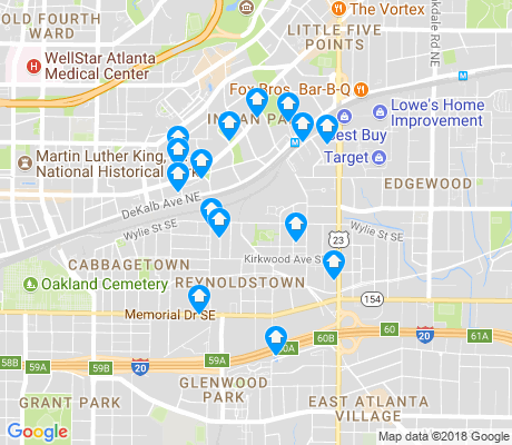 map of Reynoldstown apartments for rent