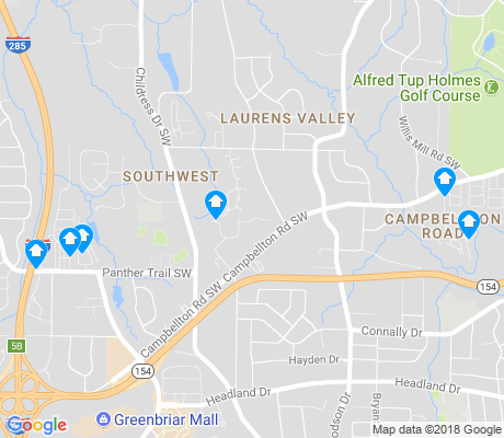 map of Southwest Atlanta apartments for rent