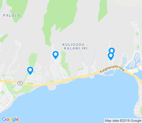 map of Kuliouou - Kalani Iki apartments for rent