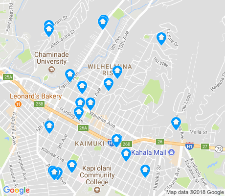 map of Kaimuki apartments for rent