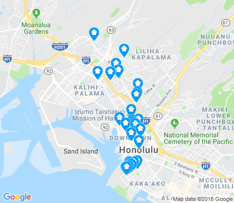 map of Kalihi - Palama apartments for rent