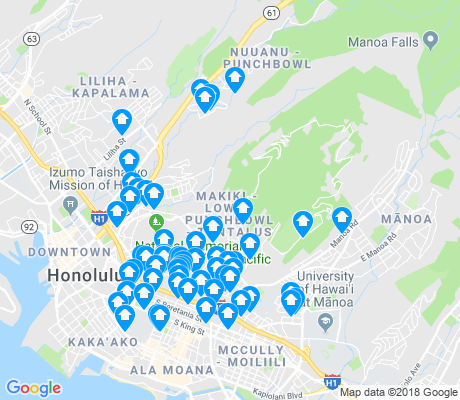 map of Makiki - Lower Punchbowl - Tantalu apartments for rent