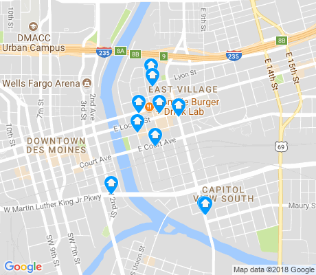 map of East Village apartments for rent