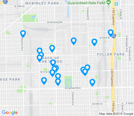 map of Back of the Yards apartments for rent
