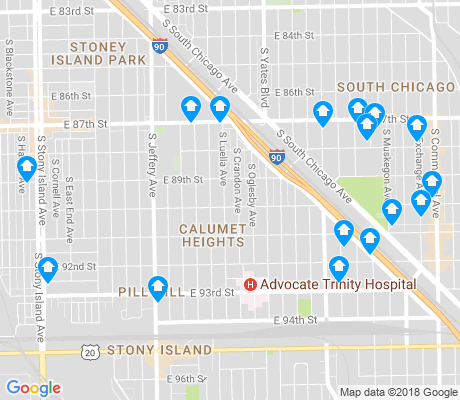 map of Calumet Heights apartments for rent