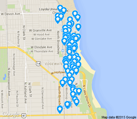 map of Edgewater Beach apartments for rent