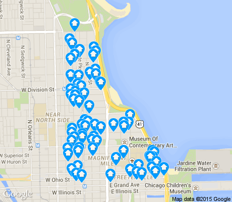 map of Gold Coast apartments for rent