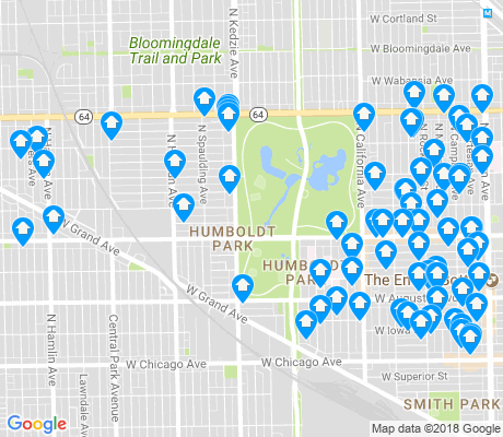 map of Humboldt Park apartments for rent