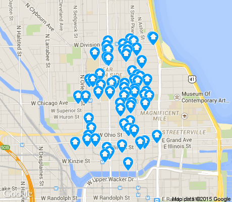 map of Near North apartments for rent