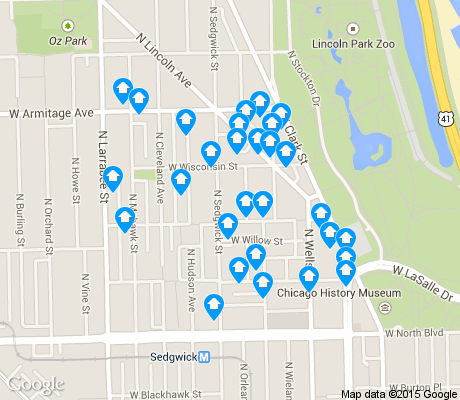 map of Old Town Triangle apartments for rent