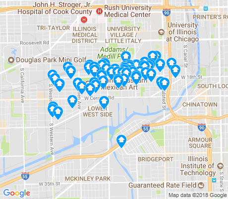 map of Pilsen apartments for rent
