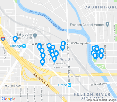 map of River West apartments for rent
