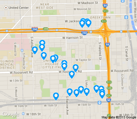 map of University Village / Little Italy apartments for rent