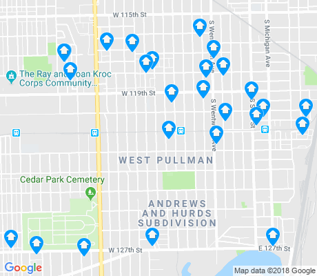 map of West Pullman apartments for rent
