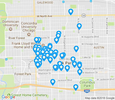 map of Oak Park apartments for rent