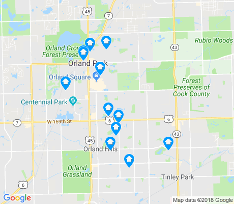 map of Orland Park apartments for rent
