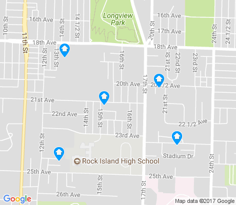 map of Central Rock Island apartments for rent