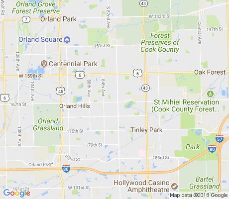 map of Tinley Downs apartments for rent