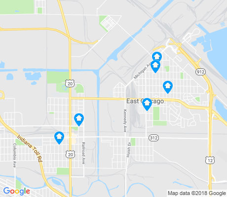 map of East Chicago apartments for rent