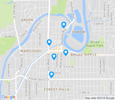 map of Broad Ripple apartments for rent