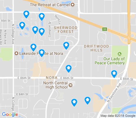 map of Nora - Far Northside apartments for rent