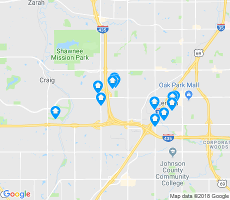 map of Lenexa apartments for rent
