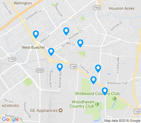 map of Buechel apartments for rent