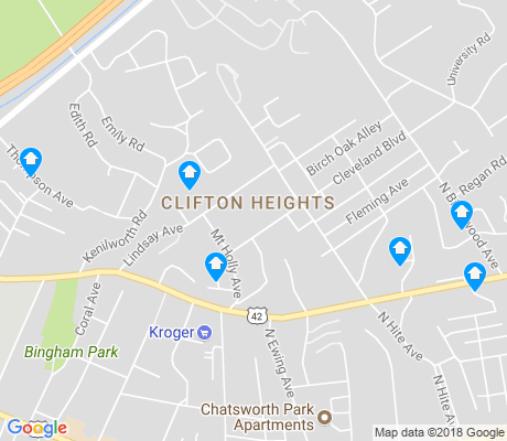 map of Clifton Heights apartments for rent