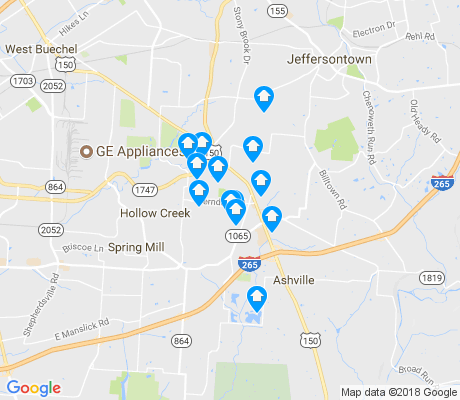 map of Fern Creek apartments for rent
