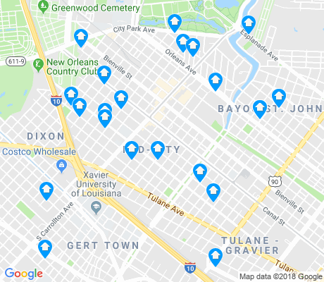 map of Mid-City apartments for rent