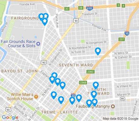 map of Seventh Ward apartments for rent